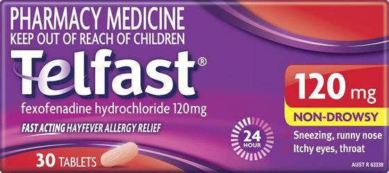 Telfast 120mg Hayfever Allergy Relief Tablets - Telfast AU