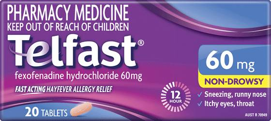 Telfast 60mg Tablets – Hayfever Relief